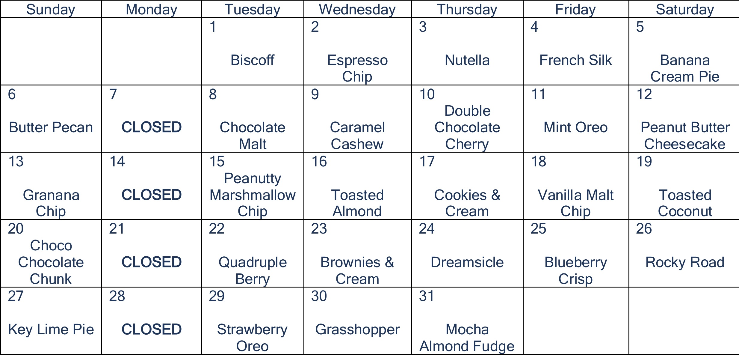July Flavors
